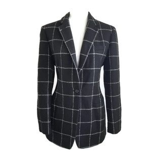 Ralph Lauren Black Plaid 100% Wool Blazer 1Button
